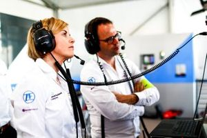 Susie Wolff, Team Principal, Venturi Formula E, watches practice from the garage