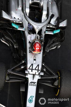 The car of Lewis Hamilton, Mercedes AMG F1 W10, 1st position, in Parc Ferme