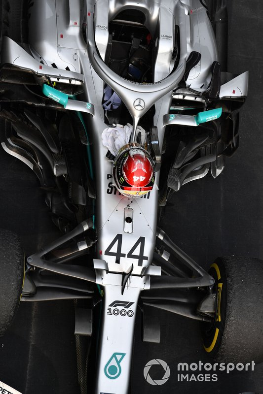 The car of Lewis Hamilton, Mercedes AMG F1 W10, 1st position, in Parc Ferme