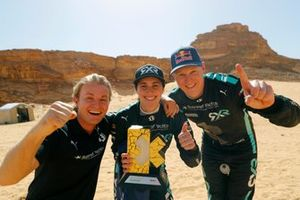 Nico Rosberg, founder and CEO, Rosberg X Racing Molly Taylor, Johan Kristoffersson, Rosberg X Racing celebrate with trophy