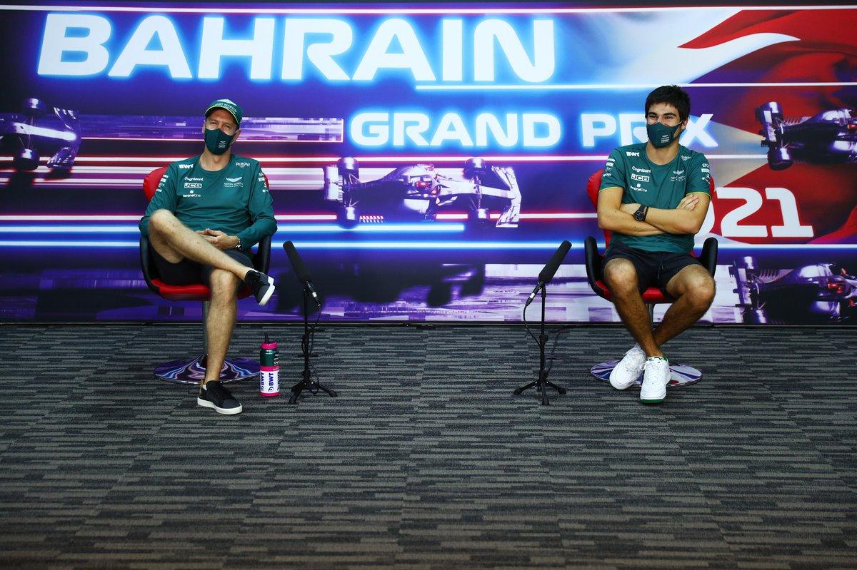 Sebastian Vettel, Aston Martin, Lance Stroll, Aston Martin en la conferencia de prensa
