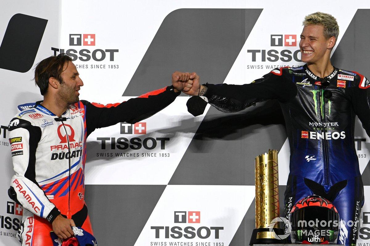 Podio: ganador Fabio Quartararo, Yamaha Factory Racing, segundo lugar Johann Zarco, Pramac Racing
