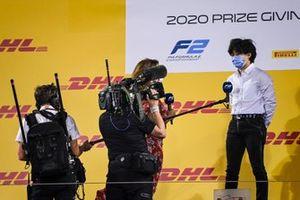 Natalie Pinkham, Sky TV speaks to F2 championship 3rd place Yuki Tsunoda, Carlin on the podium