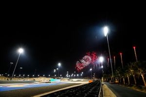 Fireworks light the sky at the end of the race