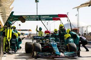 Sebastian Vettel, Aston Martin AMR21, pulls away after a pit stop