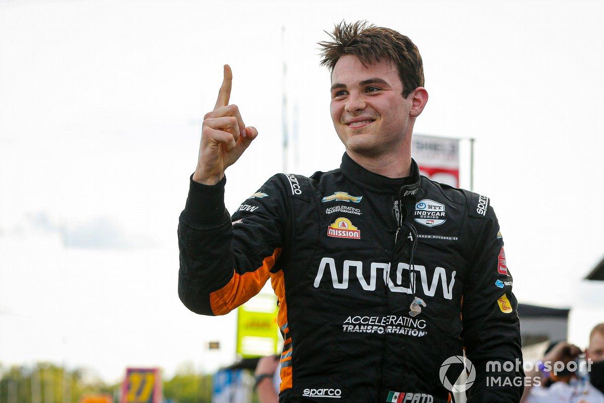 Ganador de la pole Patricio O'Ward, Arrow McLaren SP Chevrolet