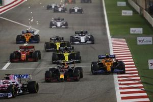 Sergio Perez, Racing Point RP20, Alex Albon, Red Bull Racing RB16, Lando Norris, McLaren MCL35, and Esteban Ocon, Renault F1 Team R.S.20