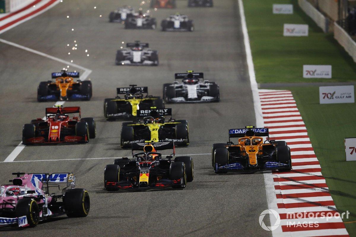 Sergio Pérez, Racing Point RP20, Alex Albon, Red Bull Racing RB16, Lando Norris, McLaren MCL35, Esteban Ocon, Renault F1 Team R.S.20