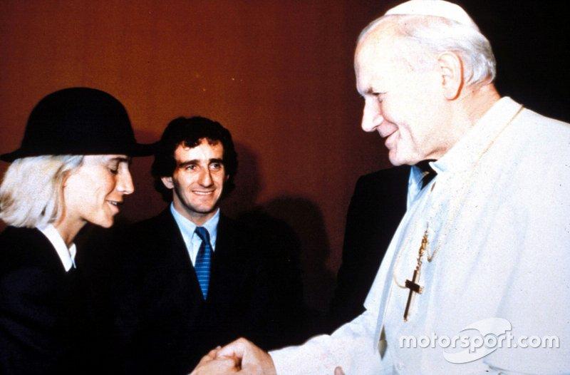 Alain Prost and wife Anne-Marie meet Pope John Paul II,