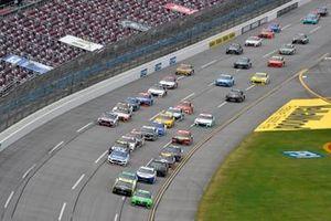 Kyle Busch, Joe Gibbs Racing, Toyota Camry Interstate Batteries and Ryan Blaney, Team Penske, Ford Mustang Menards /Sylvania
