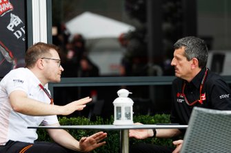Andreas Seidl, Team Principal, McLaren, and Guenther Steiner, Team Principal, Haas F1 Team