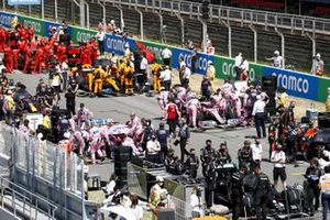 Lance Stroll, Racing Point RP20 and Sergio Perez, Racing Point RP20 on the grid