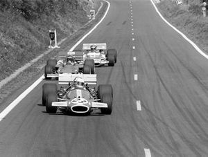 Jack Brabham, Brabham BT33, Jochen Rindt, Lotus 72C, and Henri Pescarolo, Matra MS120