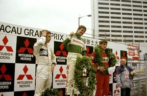 Podium: second place Jan Lammers, Race winner Martin Donnelly, third place Bernd Schneider