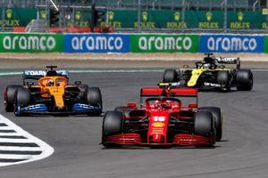 Charles Leclerc, Ferrari SF1000, Carlos Sainz Jr., McLaren MCL35, and Daniel Ricciardo, Renault F1 Team R.S.20