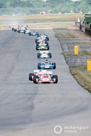 Clay Regazzoni, Ferrari 312B2, Jacky Ickx, Ferrari 312B2, Jackie Stewart, Tyrrell 003 Ford, GP di Gran Bretagna del 1971