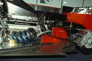 Engine and rear suspension detail on one of the McLaren MP4-10 Mercedes