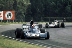 Francois Cevert leads Emerson Fittipaldi and Ronnie Peterson