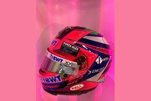 The helmet of Sergio Perez, Racing Point with a tribute to Alex Zanardi
