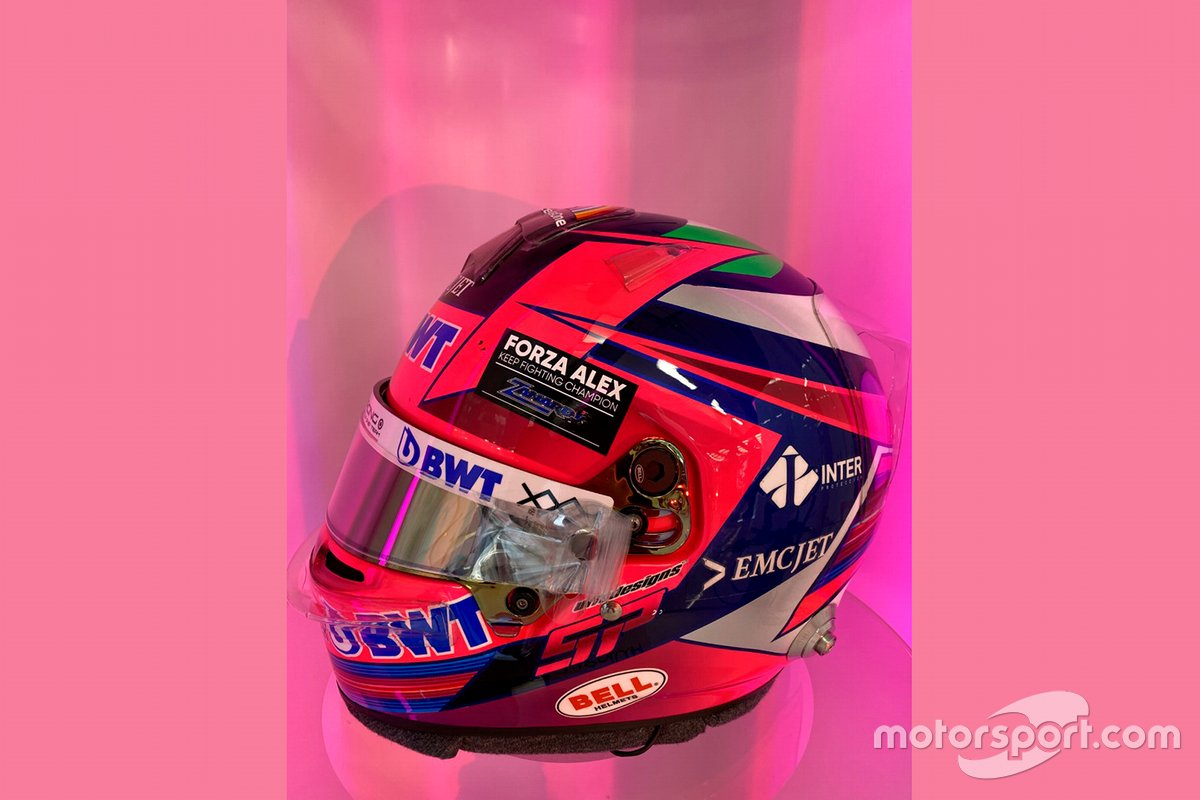 El casco de Sergio Pérez, Racing Point con un homenaje a Alex Zanardi