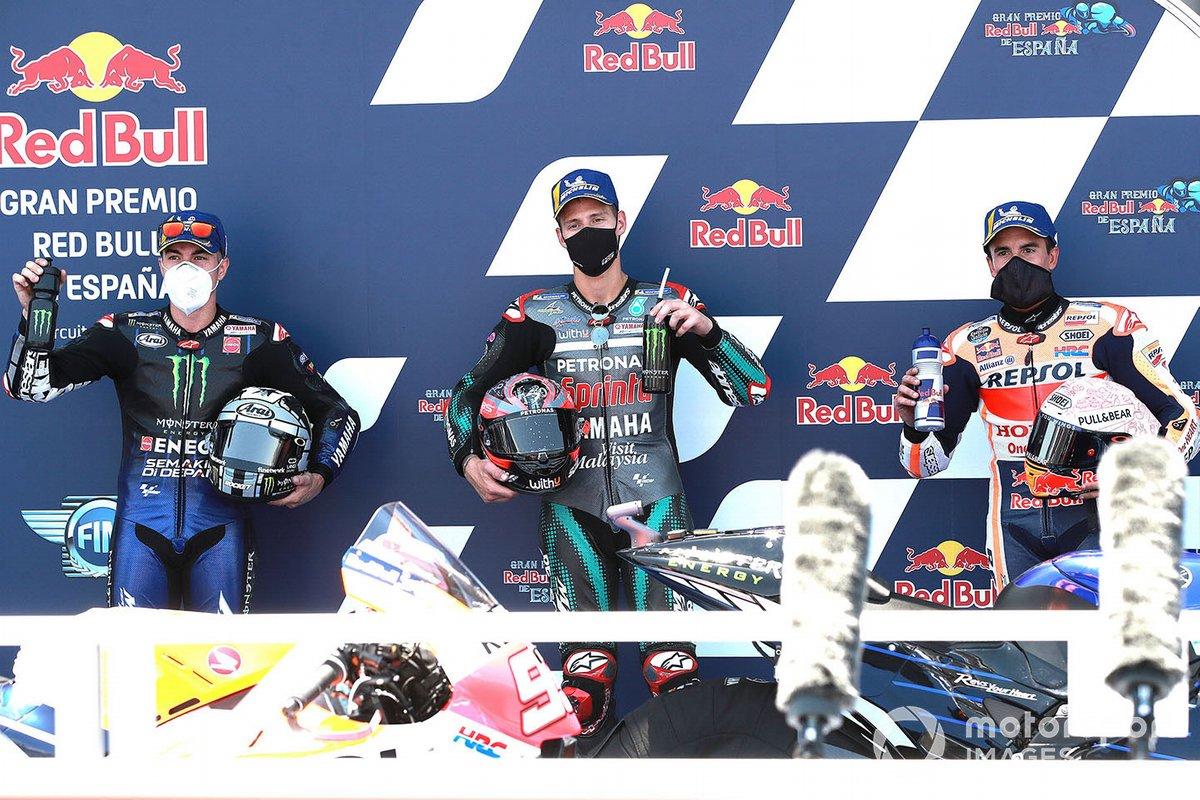 Fabio Quartararo conquista la pole position, Petronas Yamaha SRT, secondo posto Maverick Vinales, Yamaha Factory Racing, terzo posto Marc Marquez, Repsol Honda Team