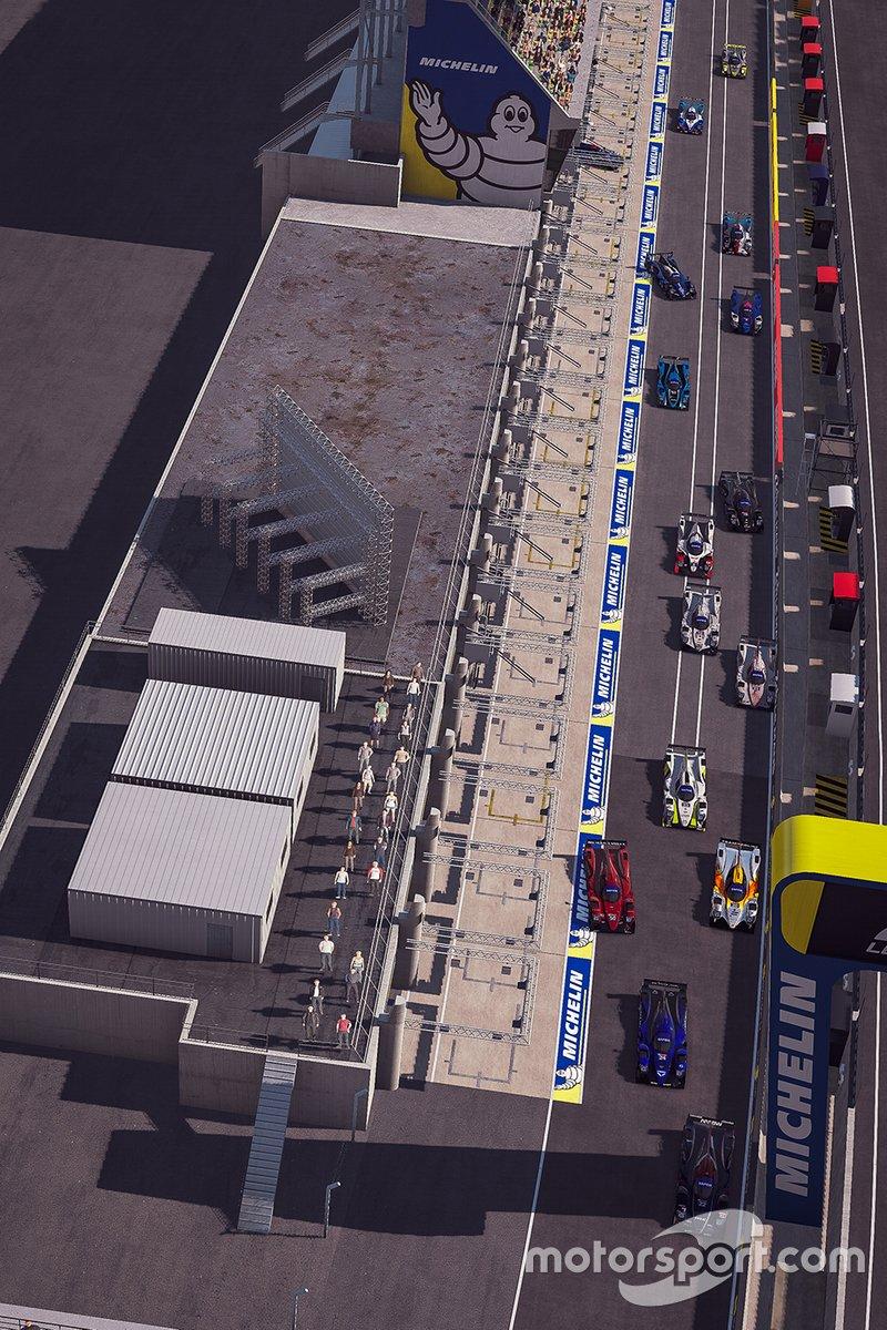 Vista aérea de la pista de boxes