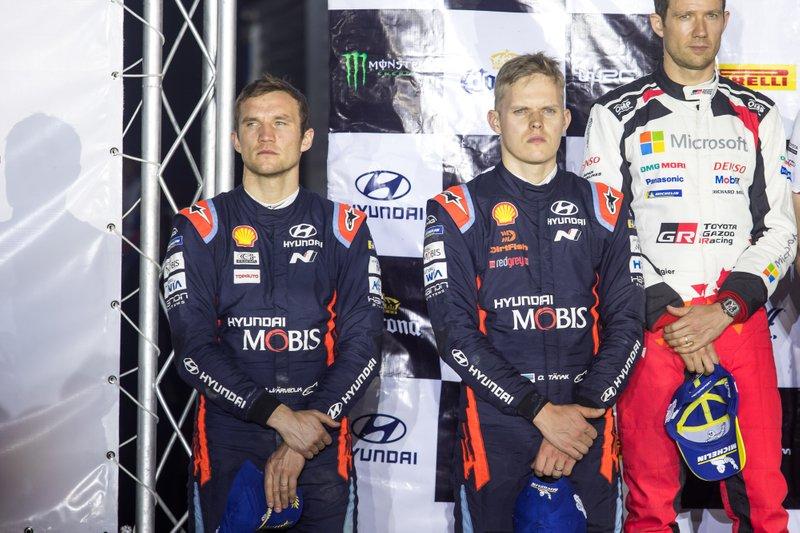 Podio: secondo posto Ott Tänak, Martin Järveoja, Hyundai Motorsport Hyundai i20 Coupe WRC