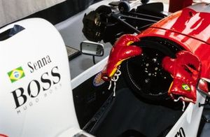 Boxing gloves on the steering wheel of Ayrton Senna, McLaren MP4/8 Ford