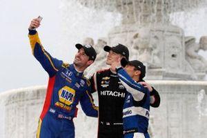 Josef Newgarden, Team Penske Chevrolet, Alexander Rossi, Andretti Autosport Honda, Takuma Sato, Rahal Letterman Lanigan Racing Honda celebrate on the podium