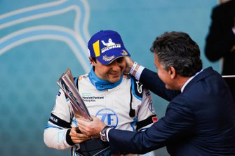 Felipe Massa, Venturi Formula E, 3rd position, receives his trophy from Alejandro Agag, CEO, Formula E on the podium