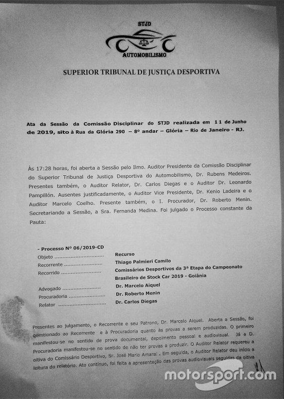 Decisão em favor de Thiago Camilo