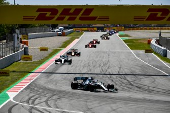 Lewis Hamilton, Mercedes AMG F1 W10, Valtteri Bottas, Mercedes AMG W10, Max Verstappen, Red Bull Racing RB15, Sebastian Vettel, Ferrari SF90, en Charles Leclerc, Ferrari SF90