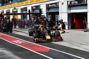Max Verstappen, Red Bull Racing RB15, leaves his pit box after a stop