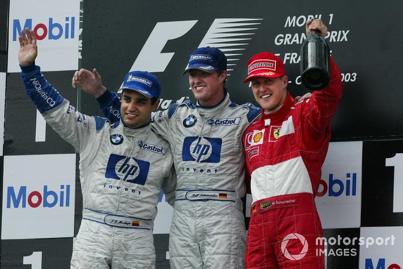 Podio: Ralf Schumacher, BMW Williams, Juan Pablo Montoya, Williams, Michael Schumacher, Ferrari