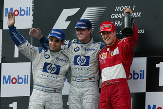 Podium: Race winner Ralf Schumacher, BMW Williams, second place Juan Pablo Montoya, Williams, third place Michael Schumacher, Ferrari