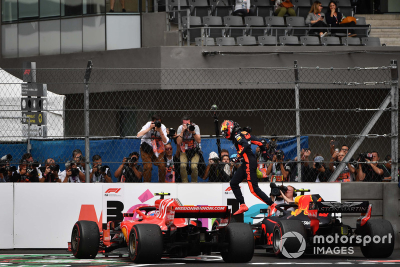 Max Verstappen, Red Bull Racing RB14 celebrates in Parc Ferme