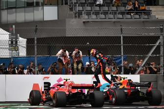 Max Verstappen, Red Bull Racing RB14 celebrates in Parc Ferme