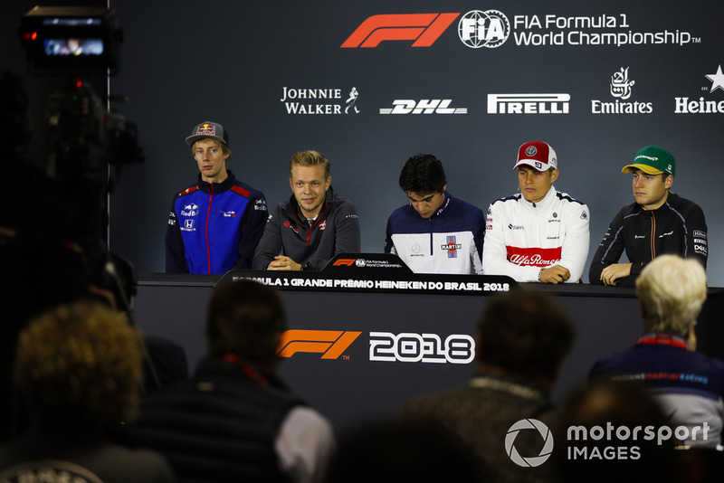 Brendon Hartley, Toro Rosso, Kevin Magnussen, Haas F1 Team, Lance Stroll, Williams Racing, Marcus Ericsson, Sauber, and Stoffel Vandoorne, McLaren, are filmed in the Thursday press conference
