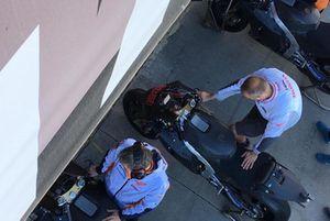 Honda mechanics prepare Jorge Lorenzo's bike