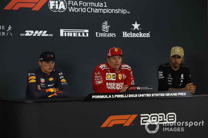 (L to R): Max Verstappen, Red Bull Racing, Kimi Raikkonen, Ferrari and Lewis Hamilton, Mercedes AMG F1 in Press Conference