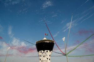Aerobatic display by Al Fursan over the Sham Tower