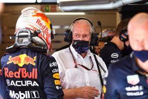 Max Verstappen, Red Bull Racing, met Helmut Marko, Consultant, Red Bull Racing