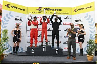 Race winner Tijil Rao, second place Yokeshwaran Krishnavelu, third place Huzaifa Tinwala.