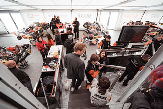 Nico Rosberg and Taylor Barnard visit Kart Republic team area