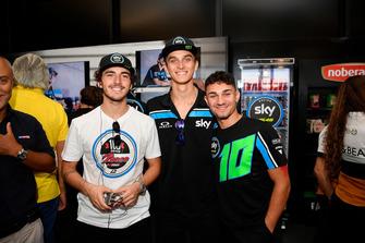 Francesco Bagnaia, Sky Racing Team VR46 con Luca Marini, Sky Racing Team VR46 e Dennis Foggia, Sky Racing Team VR46, durante i festeggiamenti per il suo 100esimo GP