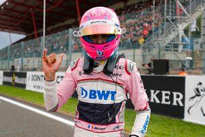 Esteban Ocon, Racing Point Force India, celebra su tercer puesto en la calificación