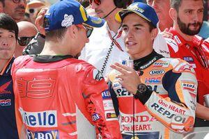 Le poleman Marc Marquez, Repsol Honda Team, le troisième, Jorge Lorenzo, Ducati Team