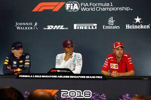 Basın toplantısı: 2. Max Verstappen, Red Bull Racing, Yarış galibi Lewis Hamilton, Mercedes AMG F1 ve 3. Sebastian Vettel, Ferrari