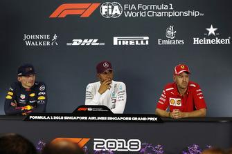 Max Verstappen, Red Bull Racing, Lewis Hamilton, Mercedes AMG F1 and Sebastian Vettel, Ferrari in the Press Conference
