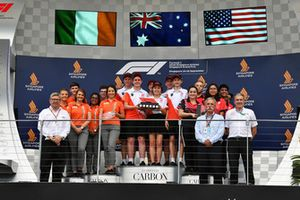 Andrew Denford, F1 in Schools,Ross Brawn, Formula One Managing Director of Motorsports, Chase Carey, Chief Executive Officer and Executive Chairman of the Formula One Group and F1 in Schools on the podium